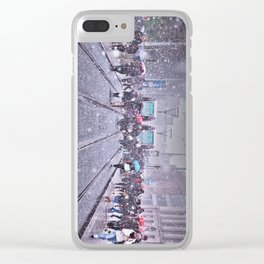 Trams in the snow Clear iPhone Case