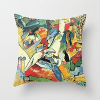 """kandinsky Throw Pillows featuring Vasily Kandinsky Sketch for """"Composition II"""" by Artlala for MSF Doctors Without Borders"""