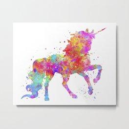 Watercolor Unicorn Metal Print