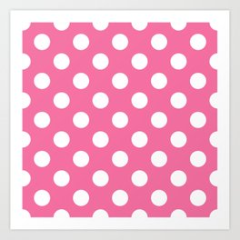 Cyclamen - pink - White Polka Dots - Pois Pattern Art Print