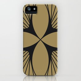 Diamond Series Floral Diamond Charcoal on Gold iPhone Case