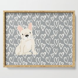 Cream French Bulldog and Hearts Serving Tray