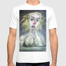 SADDEST CLOWN White Mens Fitted Tee SMALL