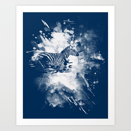 zebra splashed  Art Print