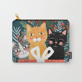 Cats cute christmas xmas tree holiday funny cat art cat lady gift unique pet gifts Carry-All Pouch