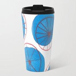 Blue drops, red wheels Travel Mug