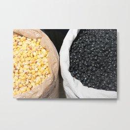 Black Beans and Yellow Corn Metal Print
