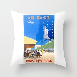1951 Paris New York Air France Advertising Poster Throw Pillow