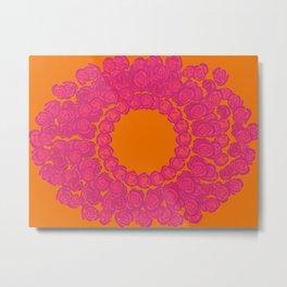 Pink Rose Wreath Metal Print