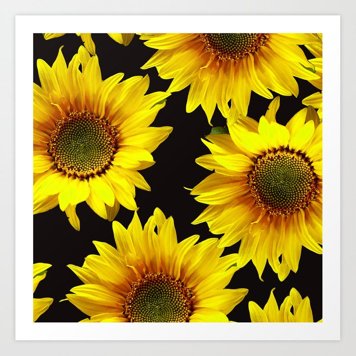 Large Sunflowers on a black background - #Society6 #buyart Kunstdrucke