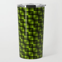 Fashionable large lozenges from small yellow intersecting squares in gradient dark cage. Travel Mug