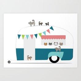 Happy Camper Kitties Art Print
