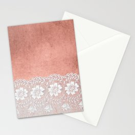White floral luxury lace on pink rosegold grunge backround Stationery Cards