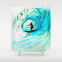 surfer Shower Curtains featuring Surfer by Bruce Stanfield