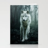 sansa stark Stationery Cards featuring Wolf by Julie Hoddinott