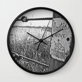 No Crabbing (B&W) Wall Clock