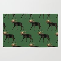 moose Area & Throw Rugs featuring Moose by Elise Cayouette