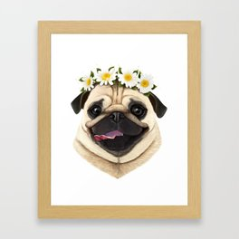 Pug with flowers Framed Art Print