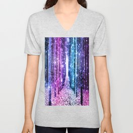 Magical Forest : Aqua Periwinkle Purple Pink Ombre Sparkle Unisex V-Neck