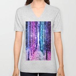 Magical Forest : Aqua Periwinkle Purple Pink Ombre Sparkle Unisex V-Neck