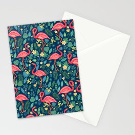 Flamingo Blue Pattern Stationery Cards