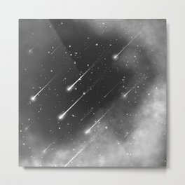 Monochrome space. Starfall. Night starry sky. Metal Print
