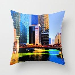 Clark St. Bridge, Chicago (Pop) Throw Pillow