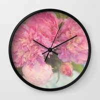 peonies Wall Clocks featuring Peonies by Lisa Argyropoulos