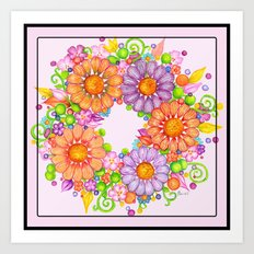 Colorful Floral Wreath on Lilac Background Art Print