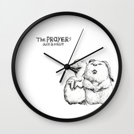 Praying duck and praying rabbit Wall Clock