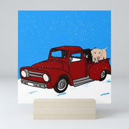 Best Labrador Buddies In Old Red Truck Mini Art Print