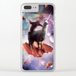 Space Sloth Riding Llama Unicorn - Bacon & Taco Clear iPhone Case