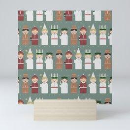Saint Lucia Christmas pattern Mini Art Print