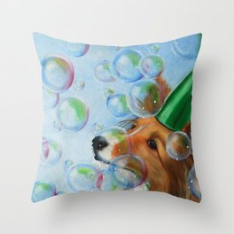 Party Girl Sheltie Dog Painting Throw Pillow