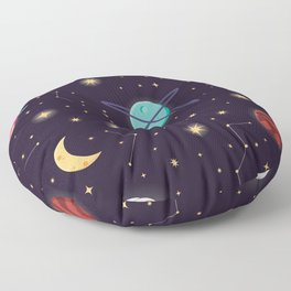 Universe with planets, stars and astronaut helmet seamless pattern 001 Floor Pillow