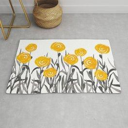 Fall Sunshine, Floral Watercolor Print, Yellow and Gray Rug