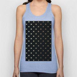 Gold polka dots on black pattern Unisex Tank Top