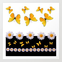 BLACK MODERN ART YELLOW BUTTERFLIES & WHITE DAISIES  ABSTRACT Art Print