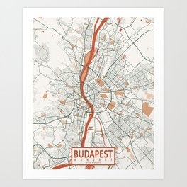 Budapest City Map of Hungary - Bohemian Art Print