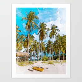 Coconut Tree Beach #watercolor #digitalpainting Art Print