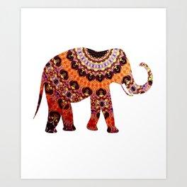 Cute Elephant African Tribal Colorful Pattern Artwork Art Print