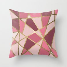 Girly Chic Pink & Burgundy Geo Gold Triangles Throw Pillow