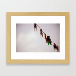 Clothespins on a rope 4496 Framed Art Print