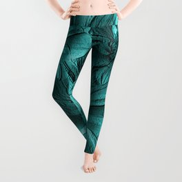 Turquoise Floral Abstract Leggings
