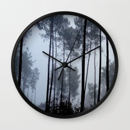Fog and Forest III-wood,mist,romantic, greenery,sunset,dawn,Landes forest,fantasy Wall Clock