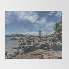 Winter Island Lighthouse Throw Blanket