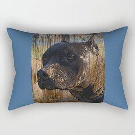 Regal Grunge Pitbull Staffordshire Terrier Face Closeup Rectangular Pillow