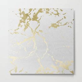 Kintsugi Ceramic Gold on Lunar Gray Metal Print