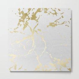 Kintsugi Ceramic Gold on Lunar Gray Metal Print