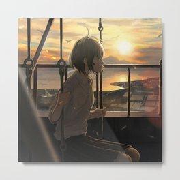 Beautiful Anime Girl Sunset Metal Print